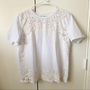 Zara White Lace Detail T-Shirt